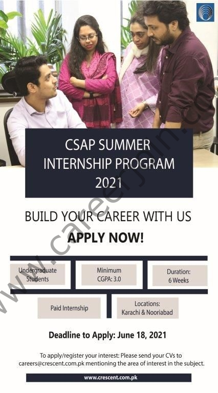 Crescent Steel and Allied Products Limited Summer Internship Program 2021 in Pakistan - Apply via careers@crescent.com.pk