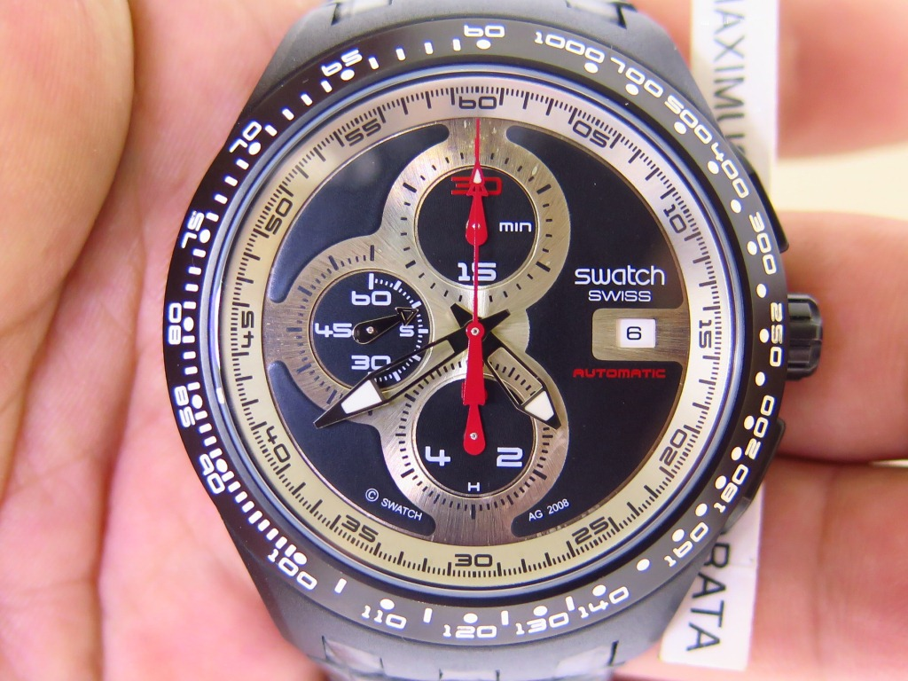 SWATCH CHRONOGRAPH BLACK SILVER PANDA DIAL AUTOMATIC
