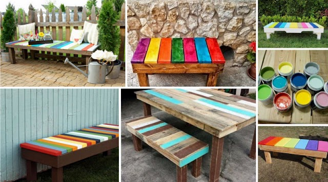 DIY Πολύχρωμα ξύλινα Παγκάκια για εξωτερικούς χώρους