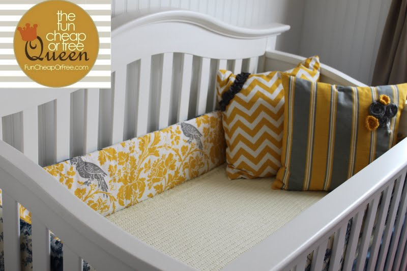 Yellow & Gray Nursery tutorials: DIY Custom crib bumper ...