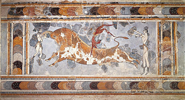The bull-leaping fresco at the Great Palace at Knossos, Crete, dated to c.1450-1400 BCE.