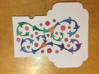 Tuckbox paper pattern with acanthus scrolls and watercolor
