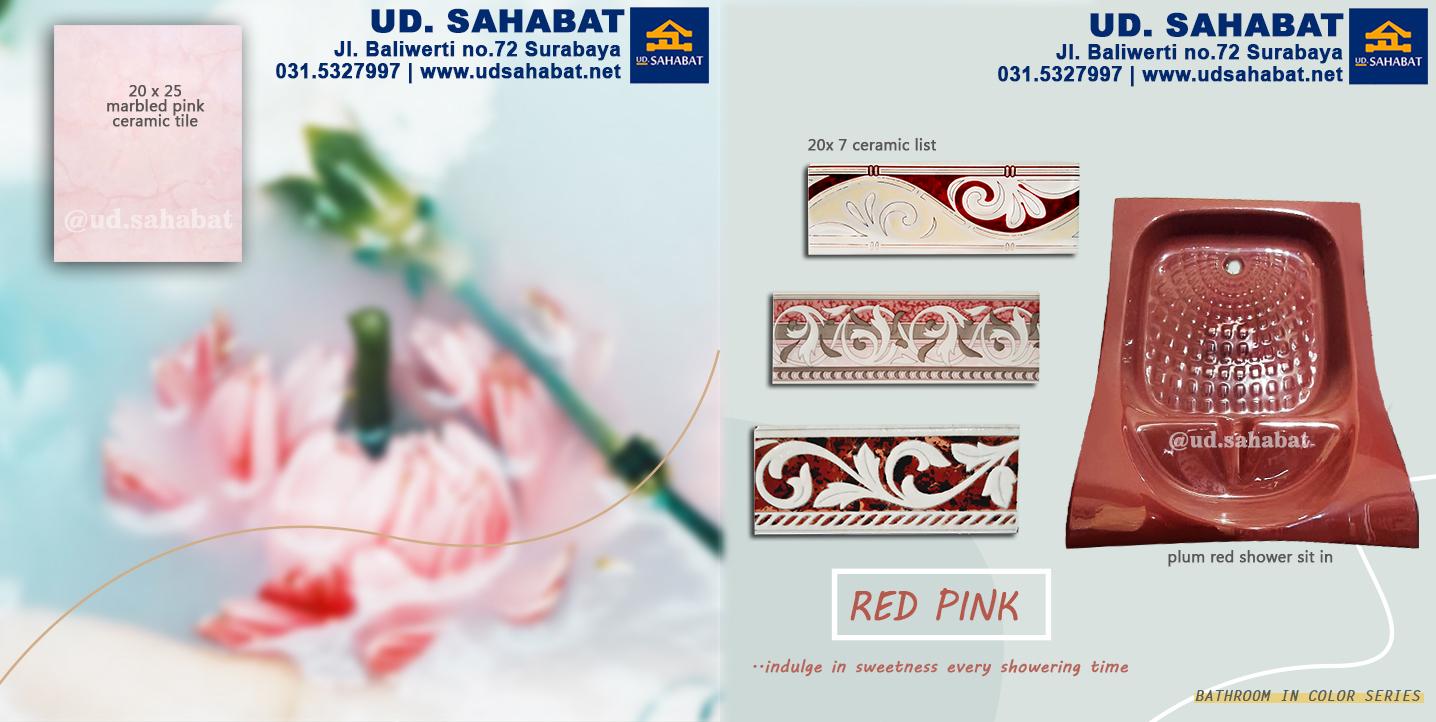 jual peralatan kamar mandi serba merah muda pink toko UD Sahabat Surabaya