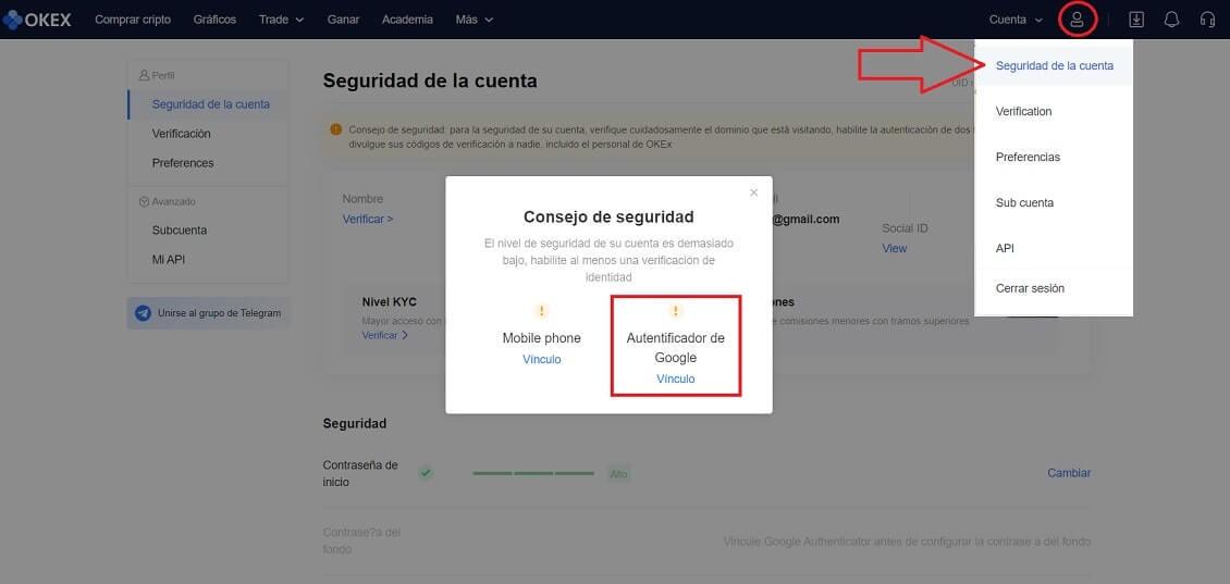 Cuenta OKEX Seguridad Configurar