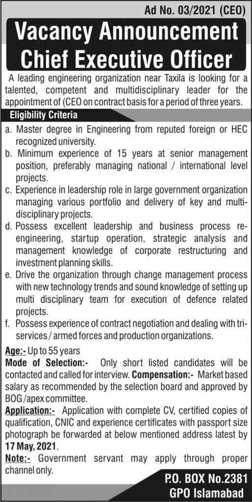 PO Box No. 2381 2021 Islamabad Jobs - Taxila Engineering Organization