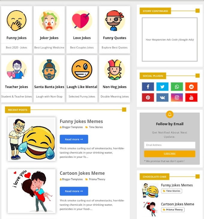 Free Premium Blogger Template For Jokes Website
