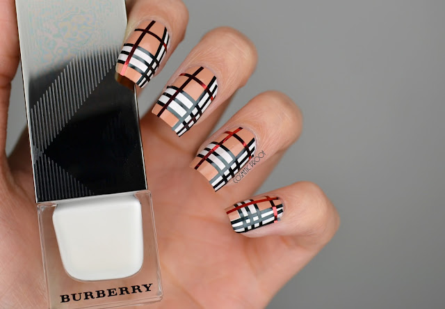 NAILS | Striping Tape Burberry Nail Art #CBBNov