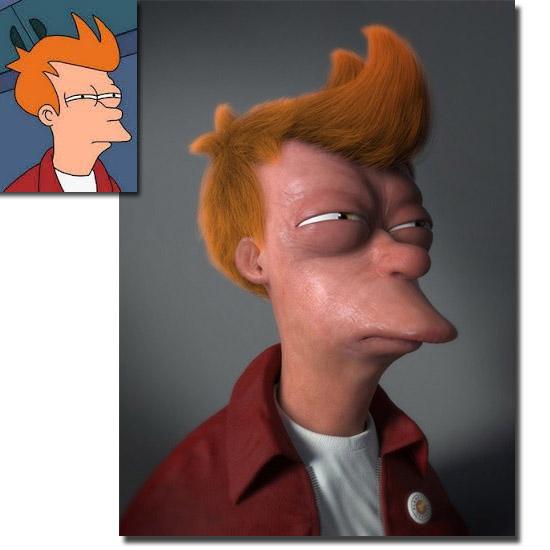 Personagens de desenhos como se fossem de carne e osso - Fry de Futurama.jpg