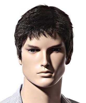 Erkek kısa düz saç peruk