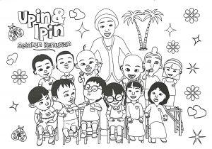 Tranh cho bé tô màu Upin & Ipin 7