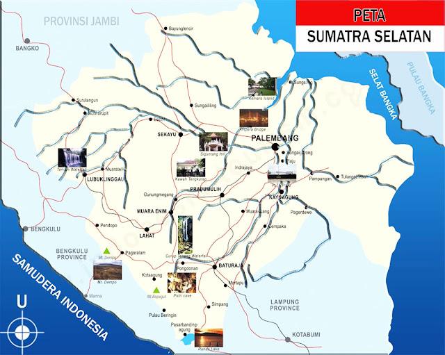 Gambar Peta Sumatra Selatan lengkap