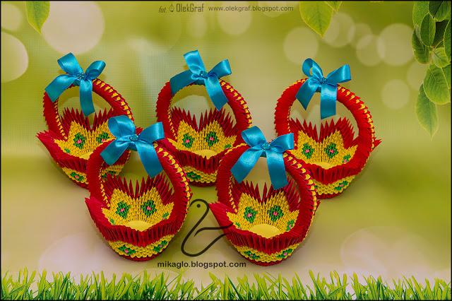 404. Kosze, koszyczki / 3d origami red baskets