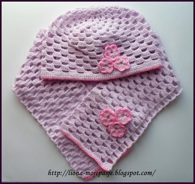 Ażurowy komplet niemowlęcy - czapka i szalik.