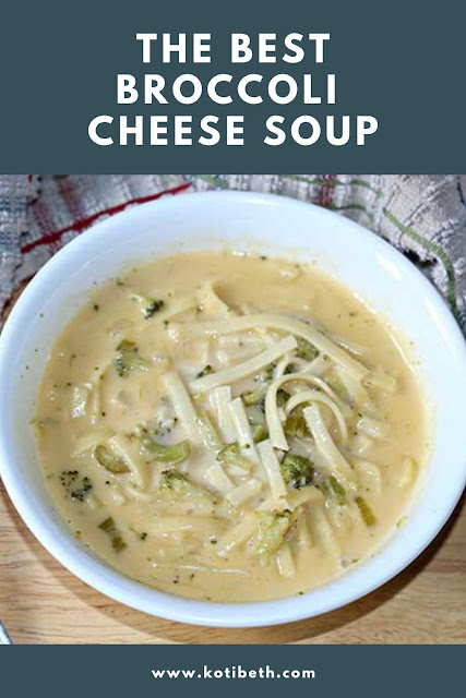 How to make the best broccoli cheese soup with Velveeta. Make this is a Crock Pot slow cooker or on the stove top with a Dutch oven with directions for both.  This is made with noodles and with milk and no carrots. Make this simple recipe from scratch. It's perfect for dinner as a meal or for a crowd. This is an easy homemade soup recipe and leftovers can be frozen for lunches. #broccolicheese #soup