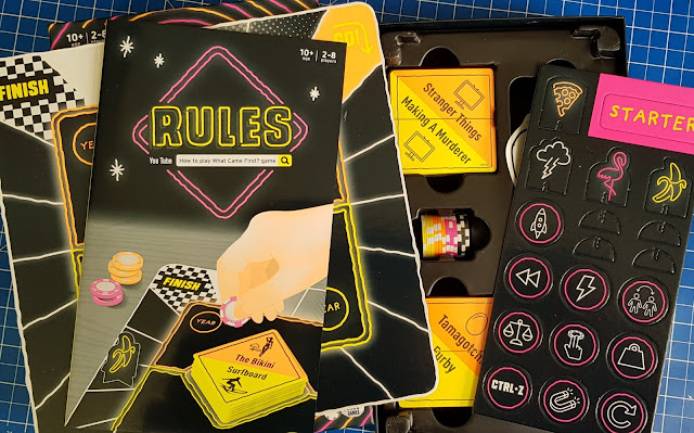 What Came First? Game box contents cards board chips