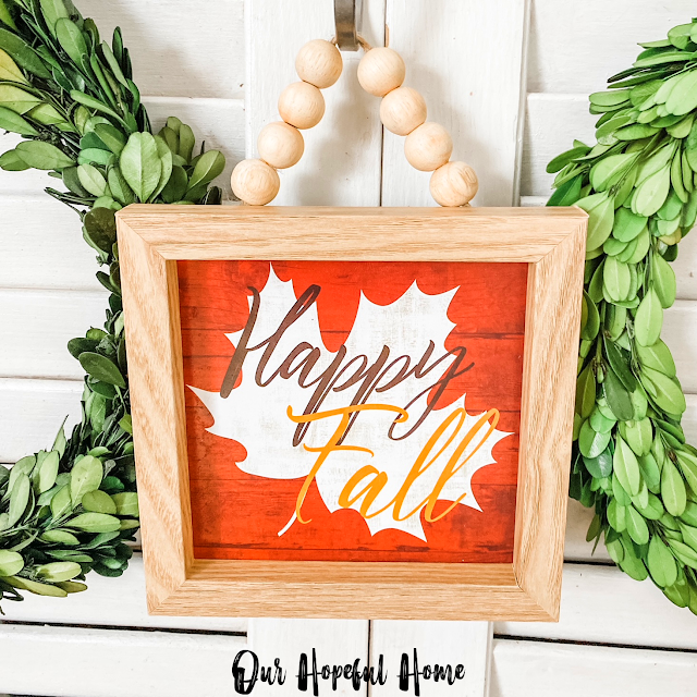 Happy Fall wooden sign from Dollar Tree
