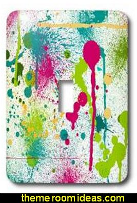 Funky Paint Splatters, Single Toggle Switch  Splatter Paint Bedroom ideas -  splatter paint bedding - splatter paint theme bedroom decorating ideas - paint splatter decorations - Splatter paint rugs -  Splatter paint throw pillows - art bedrooms - splatter paint bedrooms