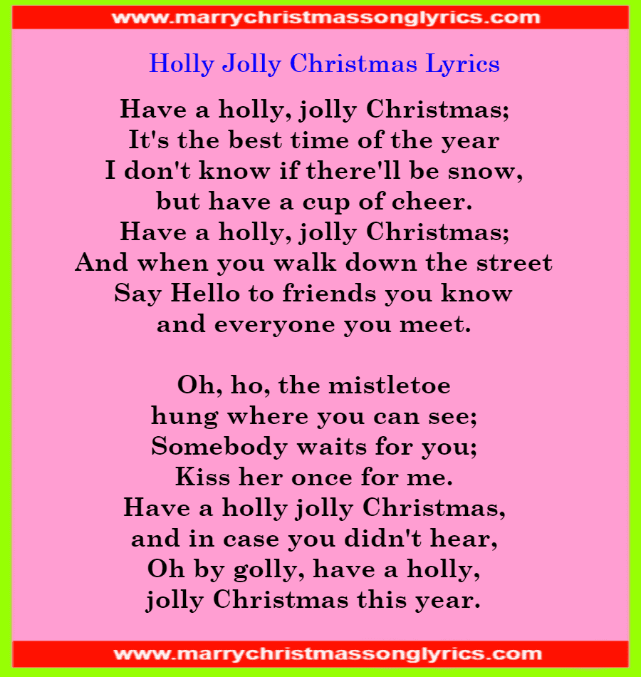 Holly Jolly Christmas Lyrics Image