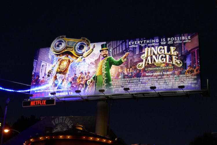 Jingle Jangle movie billboard nighttime