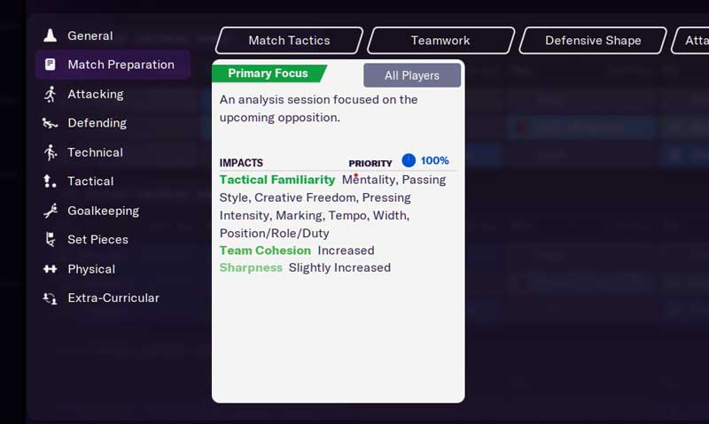 Training Settings Football Manager