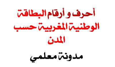 أرقام وحروف ورموز البطاقة الوطنية للتعريف المغرب حسب المدن