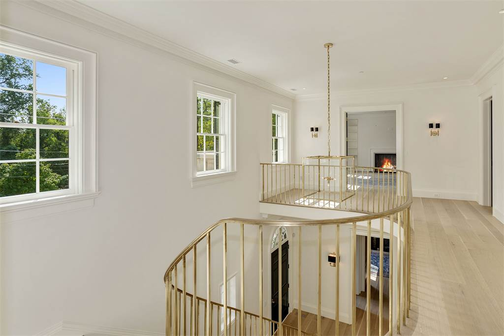 Stairs landing Washington DC luxury mansion Kalorama regency style limestone