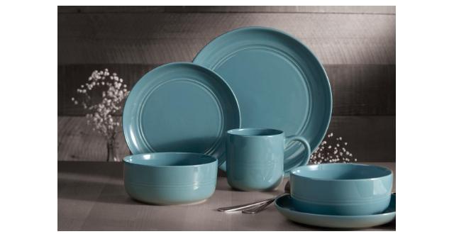 Safdie & Co. 16-Piece Stoneware Dinnerware Set, Blue, Ridge