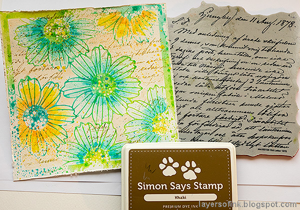 Layers of ink - Misted Flowers Art Journal Tutorial by Anna-Karin Evaldsson. Stamp with SSS Old Letter Background.