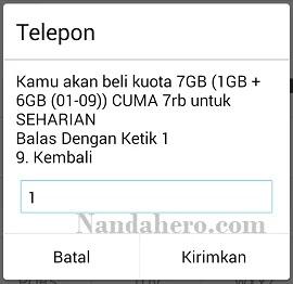 cara paket internet tri 7gb 7000