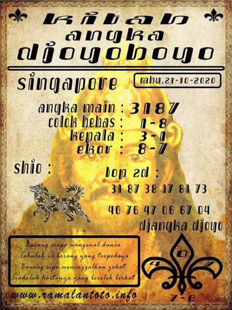 Kode syair Singapore Rabu 21 Oktober 2020 112