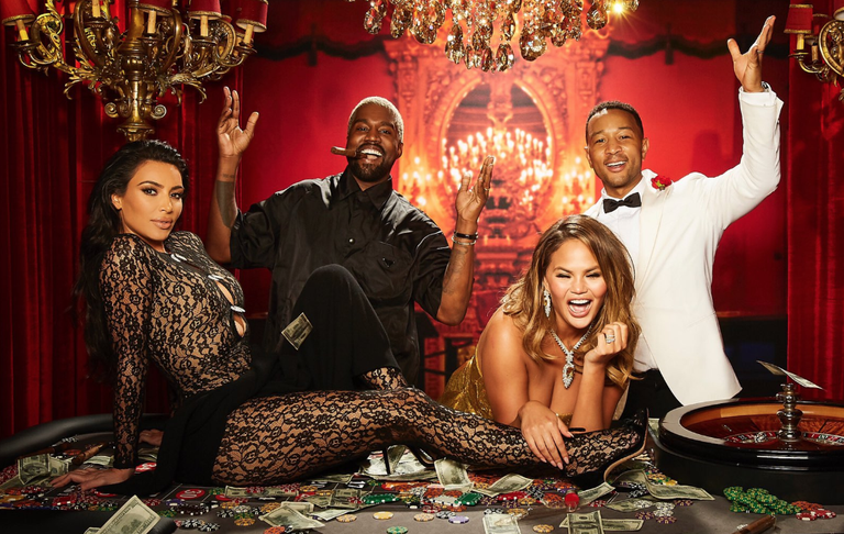 Kim Kardashian smoulders at John Legend's Casino Royale themed 40th birthday party