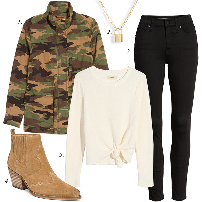 camo jacket fall outfit charm necklace black jeans suede ankle boots