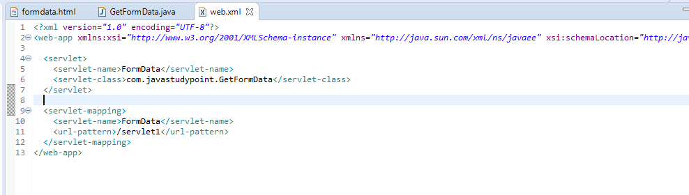 How to get data from HTML Form in Servlet.