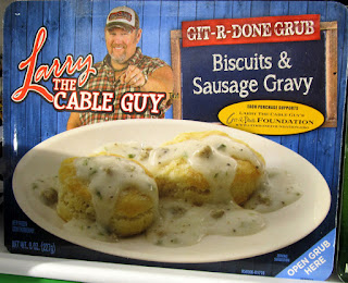 A package of Larry the Cable Guy Biscuits and Gravy TV Dinner