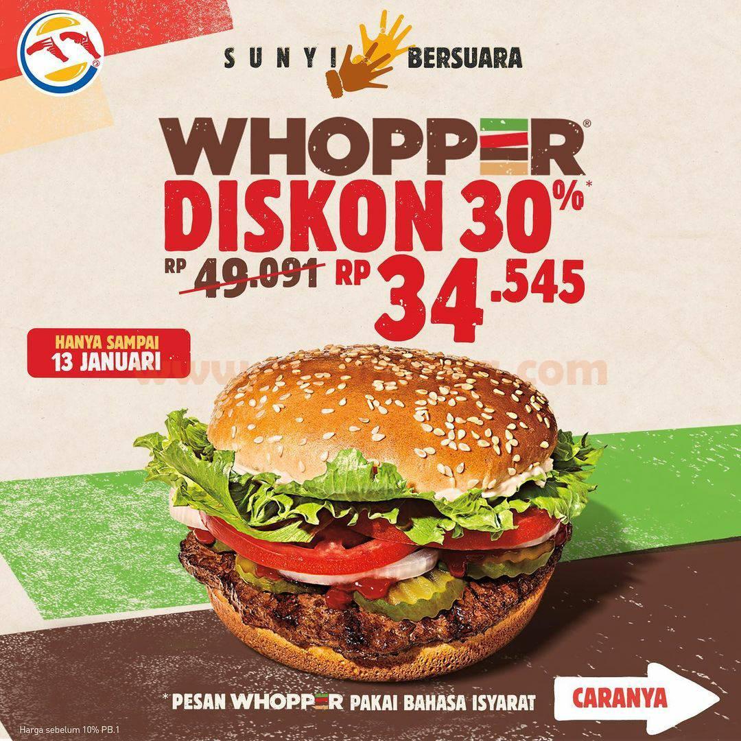 BURGER KING promo Diskon 30% untuk WHOPPER! harga hanya Rp 34.545