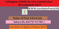 State Public Service Commission Recruitment 2017– Librarian