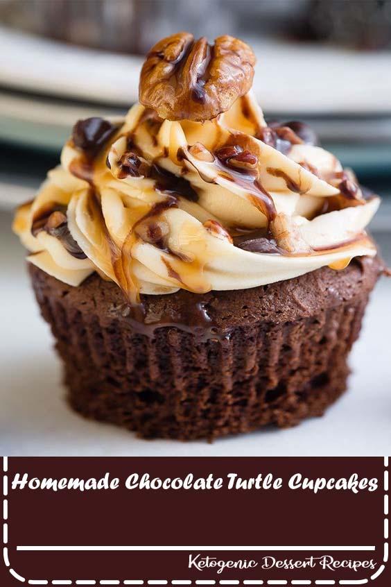 Homemade Chocolate Turtle Cupcakes