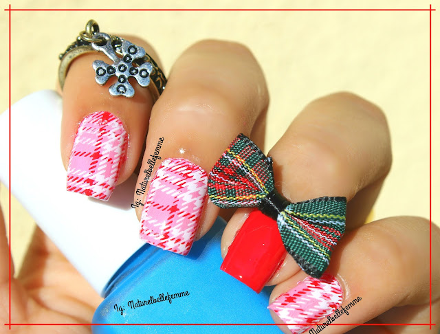 pink plaid nails