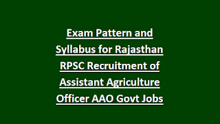 Exam Pattern and Syllabus for Rajasthan RPSC Recruitment of Assistant Agriculture Officer AAO Govt Jobs Notification 2018