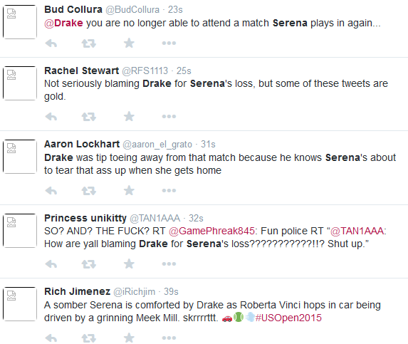 social media blame Serena and Drake relationship for Serena Williams defeat