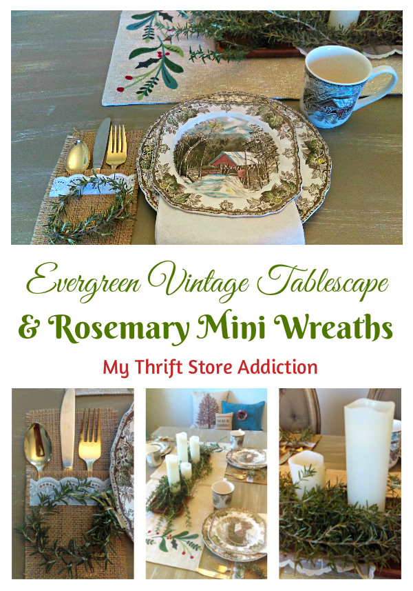 evergreen vintage tablescape and mini rosemary wreaths