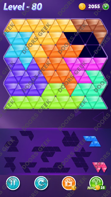 Block! Triangle Puzzle 9 Mania Level 80 Solution, Cheats, Walkthrough for Android, iPhone, iPad and iPod
