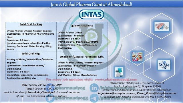 Intas Pharma | Walk-in at Panchkula on 24 Nov 2019 for Production | Pharma Jobs - Production