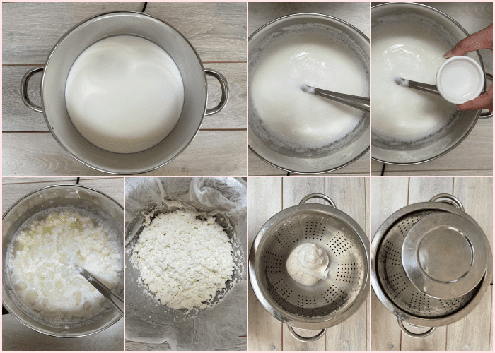 step by step images of how to prepare paneer balls in collage from boiling milk to making paneer balls