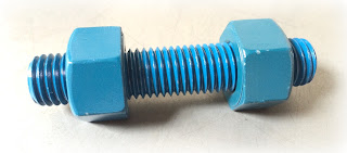 Blue ptfe coated threaded astm a193 grade b7 studs and a194 grade 2h heavy hex nuts - engineered source as fastener supplier and distributor - santa ana, orange county, los angeles, southern california