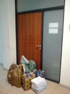 Recall process: INEC officials drop notice, Ghana-must-go bags outside Senator Dino Melaye?s office