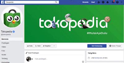 halaman facebook resmi tokopedia untuk jual beli online