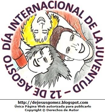 Dibujo de jóvenes por el Día Internacional de la Juventud pintado con colores (Jóvenes con linda sonrisa). Dibujo del Día Internacional de la Juventud de Jesus Gómez