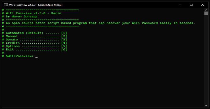 WiFi Passview : An Open Source Batch Script Based WiFi Passview For Windows