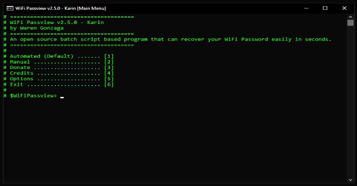WiFi Passview : An Open Source Batch Script Based WiFi Passview For Windows